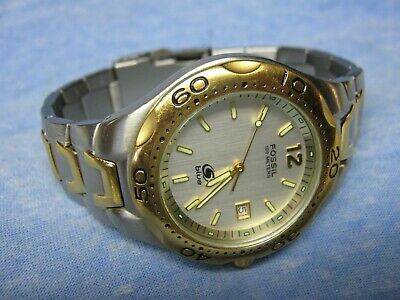 $ CDN19.57 • Buy Men's FOSSIL  Blue  Water Resistant Two-Tone Diver's Watch AM3424 W/ New Battery
