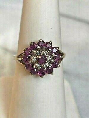 £141.60 • Buy Yellow Gold Ruby & Diamond Flower Cocktail Ring Size 7