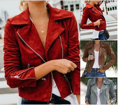 Women Winter Leather Jacket Coats Zip Up Biker Casual Flight Top Coat Outwear • 14.24£