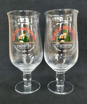 New 2 Birra Moretti Half Pint Lager Beer Bar Pint Glasses Set Of Two Pub Bar • 4.50£
