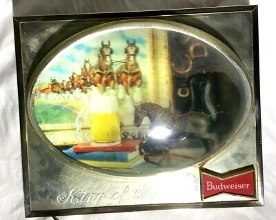 $ CDN378.44 • Buy Vintage BUDWEISER Beer Lighted BUBBLE HOLOGRAM CLYDESDALE Sign 1960's