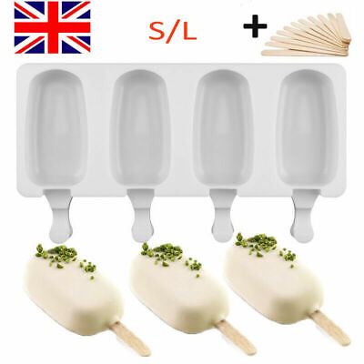 Silicone Ice Cream Mould Popsicle Lolly Frozen Dessert Maker Cakesicles Tray UK • 0.99£