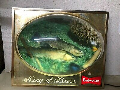 $ CDN183.08 • Buy Vintage 1950's Budweiser Metal Lighted Bubble 3d Trout Fishing Adverising Sign
