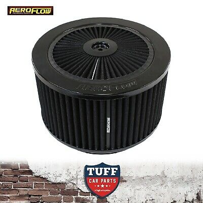 "AU206.51 • Buy Aeroflow Black Full Flow Air Cleaner Assembly 9"" X 5"" With Washable Filter New"