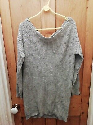 Grey Ribbed Knitted Jumper Dress From Missguided Size S/m Off The Shoulder • 7£