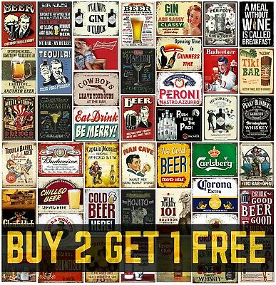 £4.99 • Buy Home Bar Signs Metal Plaques Vintage Retro Style Gin Beer Corona Mancave Shed