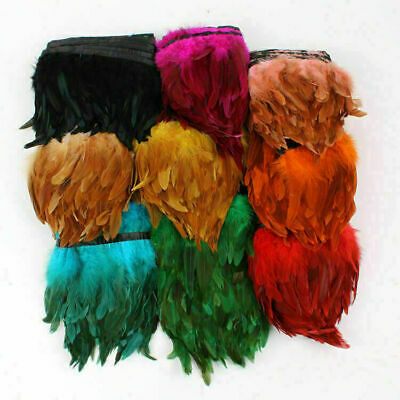 £3.89 • Buy Hackle Coque Feather Fringe 1 Metre Rooster Craft Trim Sewing Costume Millinery