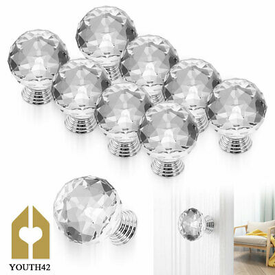 £7.89 • Buy 20pcs Crystal Diamond Door Knobs Transparent Glass Clear Cabinet Drawer Handle