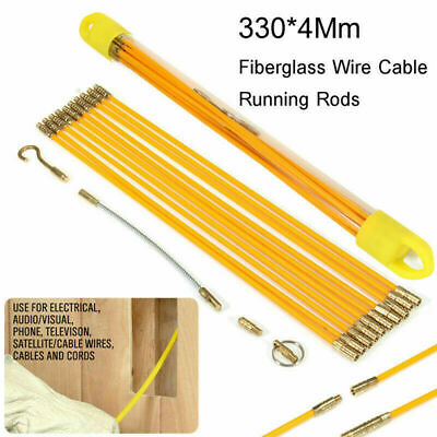 Cable Access Kit 33cm X 10 Electricians Puller Rods Wires Draw Push Pulling • 12.99£
