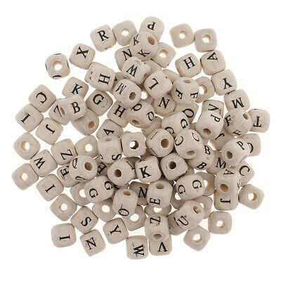 £3.84 • Buy 100 Pieces Wooden Alphabet Letters Cube Beads Loose DIY Jewelry Making 10mm