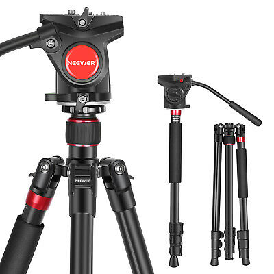 AU68.35 • Buy Neewer Aluminum Alloy 2-in-1 DSLR Camera Tripod 180cm With Fluid Drag Pan Head