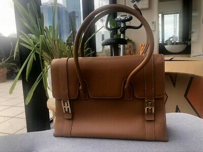 AU1100 • Buy HERMES Brown Leather Medium Size Handbag. Pre-owned With Some Wear.