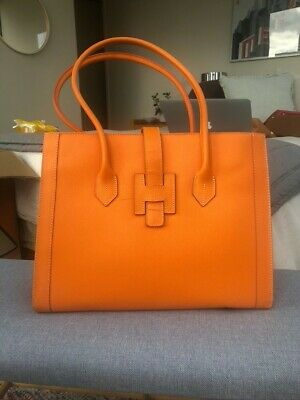 AU990 • Buy HERMES Orange Leather Medium Size Handbag. Pre-owned With Some Wear