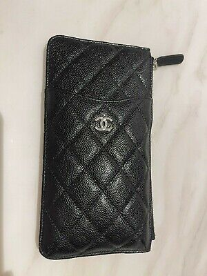 AU1099 • Buy Like NEW Chanel Phone Wallet BLACK Caviar With Silver Hardware SOLD OUT STYLE