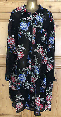 Ladies Size 26 Black Floral Print Floaty Style Dress From New Look Curves  • 5£