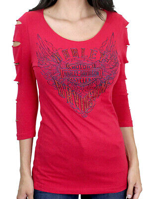 $ CDN18.13 • Buy Harley-Davidson Ladies Furious Wings Sparkling Red 3/4-Sleeve Slashed T-Shirt