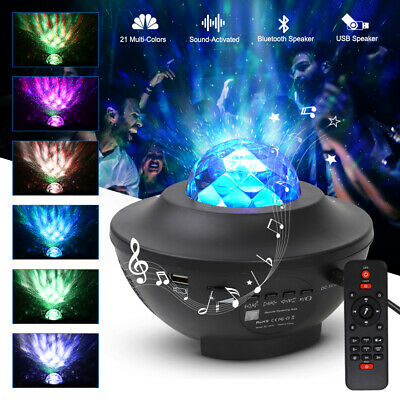 LED Galaxy Starry Sky Projector Lamp Music Ocean Wave Remote Star Night Light • 18.99£
