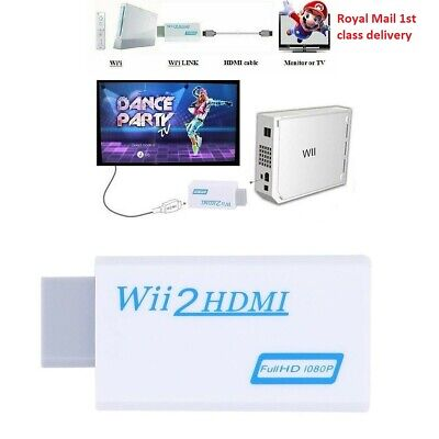 Wii Input To HDMI 1080P HD Audio Output Converter Adapter Cable 3.5mm Jack White • 4.29£