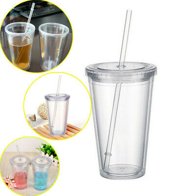 16Oz Double Walled Plastic Cup With Lid And Straw Clear Coffee Juice Insulated • 7.19£