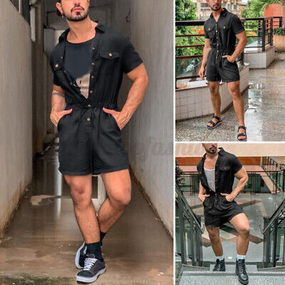 $30.79 • Buy Men's Short Sleeve Fashion Cargo Jumpsuit Casual Loose Overalls Shorts Pants US