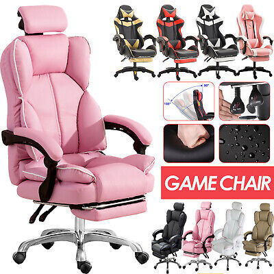 AU149.88 • Buy Office Racing Gaming Chair Footrest Leather Swivel Computer Desk Chairs Recliner