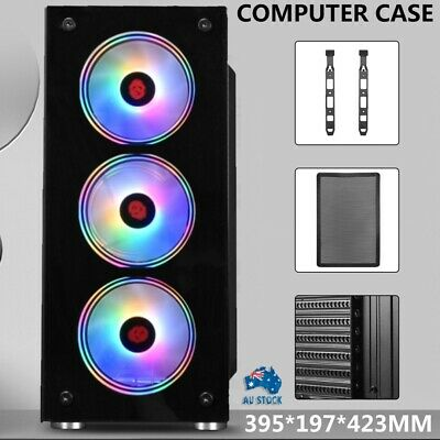 AU53.99 • Buy Full Tempered Glass Side PC Case Gaming Tower Computer Case Audio RGB Full ATX