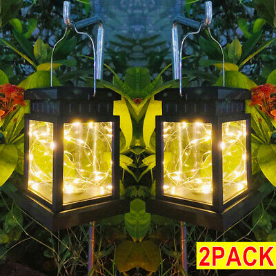2X Waterproof LED Solar Powered Hanging Lantern Lights Outdoor Garden Table Lamp • 12.39£