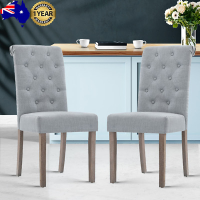 AU161.19 • Buy Artiss 2x Dining Chairs French Provincial Kitchen Cafe Fabric Padded Pine Wood