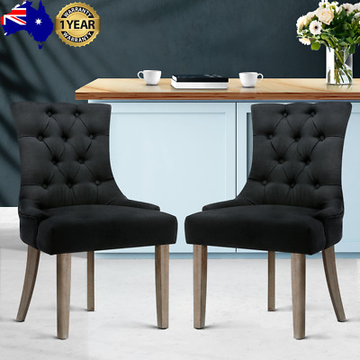 AU219.02 • Buy Artiss 2x Dining Chair CAYES French Provincial Chairs Wooden Fabric Retro Cafe