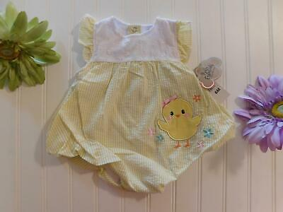 £9.82 • Buy NWT! Baby Essentials Girls 6 Months Seersucker Chick Bubble Romper Outfit Easter
