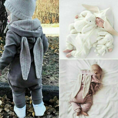 UK Infant Baby Boy Girl Clothes Bunny Ears Jumpsuit Romper Overall Easter Outfit • 7.99£
