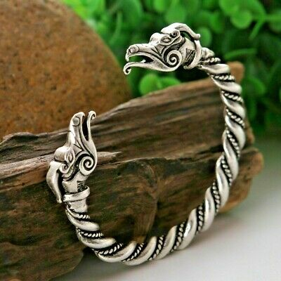 Mens Men's Silver/Copper Dragon Viking Fenrir Wolfs Head Metal Bracelet Bangle • 8.95£