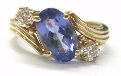 AU2532.63 • Buy Natural Oval Tanzanite & Diamond Yellow Gold Anniversary Ring 14KT 3.08Ct AAA VS