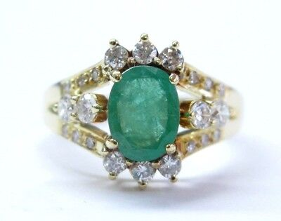 AU1574.34 • Buy 18Kt NATURAL Colombian Green Emerald & Diamond Yellow Gold Ring 1.70Ct