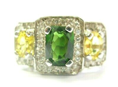 AU3490.92 • Buy Green Tourmaline Yellow Sapphire & Diamond Ring 18Kt White Gold 4.55Ct