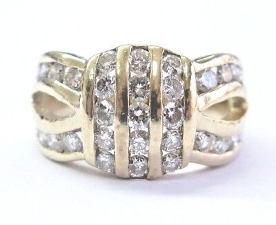 AU1300.54 • Buy Fine Round Cut Diamond 3-Row Yellow Gold Jewelry Ring 1.30Ct