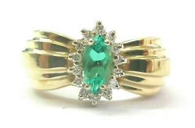 AU1300.54 • Buy Green Emerald & Diamond Ring 14Kt Yellow Gold .55Ct 28Ct SIZEABLE