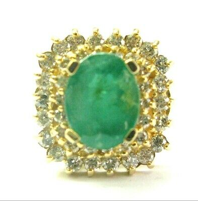AU3764.72 • Buy Natural Green Emerald & Diamond Ring 14Kt Yellow Gold 2.50Ct+1.00Ct