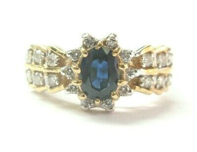 AU1711.24 • Buy Blue Sapphire & Diamond Ring 14Kt Yellow Gold 1.06Ct 45Ct SIZEABLE