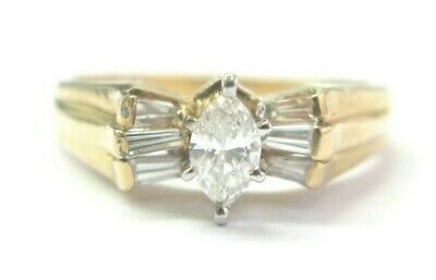 AU1505.89 • Buy Marquise & Baguette Diamond Engagement Ring 14Kt Yellow Gold .70Ct F-VS1