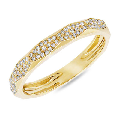 AU963.50 • Buy Womens 14K Yellow Gold Natural Round Cut Diamond Flat Top Fashion Band Ring