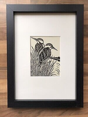 £16 • Buy 'Kingfisher'- Framed Woodcut Bird By Raphael Nelson, Original, Dated 1940s