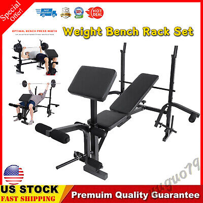 $ CDN183.95 • Buy Adjustable Squat Rack With Weight Bench Barbell Rack Dumbbell Lifting Bench Rack