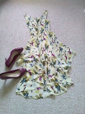 Glamorous Lined Lemon High/low Round Neck & Sleeveless Bird Pattern Dress Size 8 • 13£