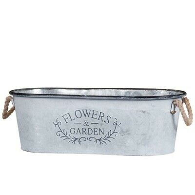 Galvanised Finish Trough Flowers & Garden  Slogan Planter With Rope Handles New. • 19.98£