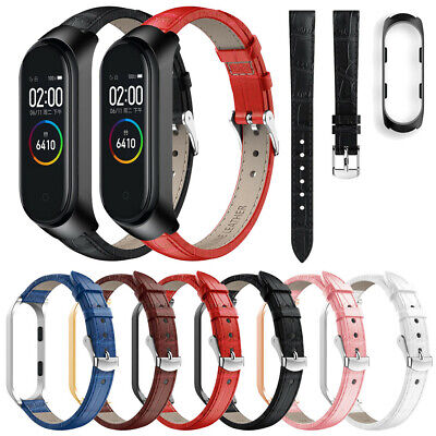 AU14.09 • Buy For Xiaomi Mi Band 4 Replacement Leather Wristband Band Strap + Metal Case 2PCS