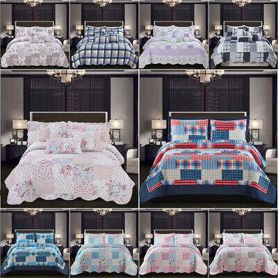 £28.99 • Buy 3 PCS Patchwork Bedspread Quilted Bed Throw Single Double King Size Bedding Set