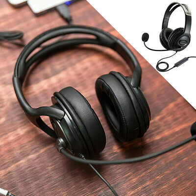 £10.95 • Buy USB Headphones With Microphone Noise Cancelling Headset For Skype Laptop PC UK