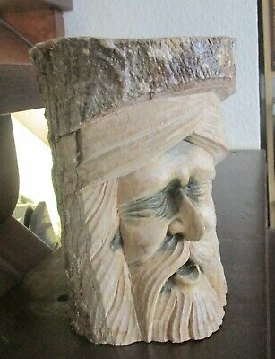 £19.99 • Buy Forest / Green Man Of The Woods Hand Carved  Full Log 20cms High