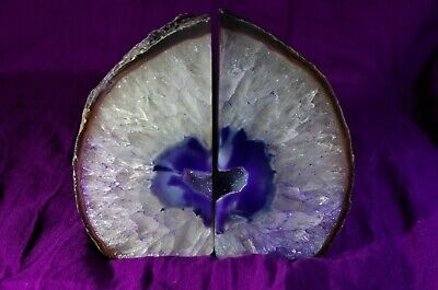 Crystals - Dark Purple Agate Bookends With 'Heart' Feature • 30£